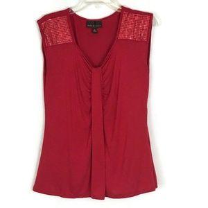 Dana Buchman Womens Shirt Size Medium Red Pleated